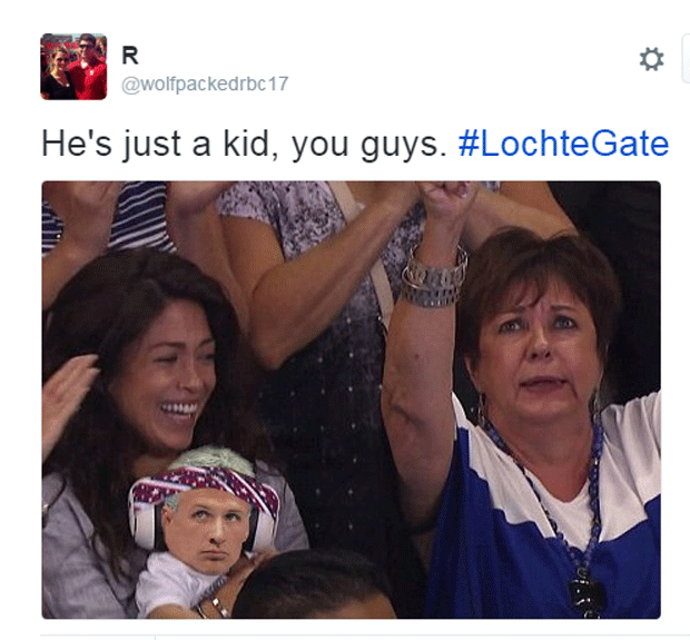 """""""Ele é só uma criança, pessoal"""", diz montagem em que coloca o rosto de Ryan Lochte na cabeça do filho de Michael Phelps (Foto: Reprodução/Twitter)"""