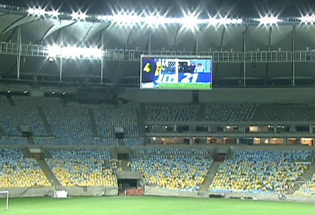 FRAME iluminação Maracanã teste (Foto: Reprodução / TV Globo)