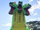 Grupo usa dragão inflável em ato para alertar sobre crise econômica