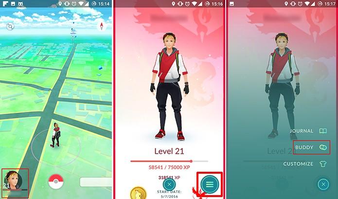 Buddy pode ser adicionado no perfil do usuário em Pokemon Go (Foto: Reprodução/Elson de Souza)