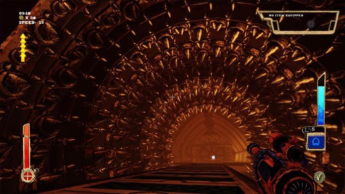 Alguns andares em Tower of Guns possuem mais armadilhas do que inimigos (Foto: Reprodução/GameInformer)