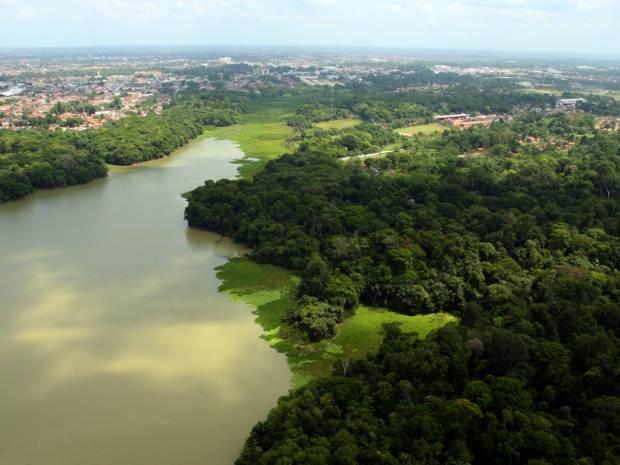 Vista aérea do Parque do Utinga, em Belém (Foto: Fernando Araújo/O Liberal)