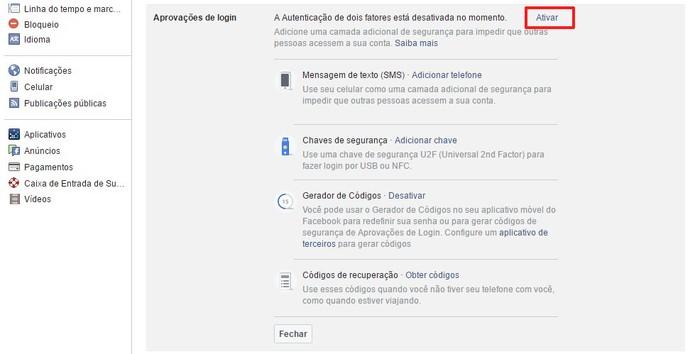 Clique em ativar e obtenha as aprovações de login (Foto: Reprodução/Camila Peres)
