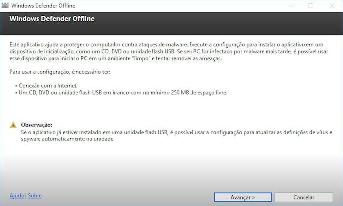 Configuração inicial do Windows Defender Offline (Foto: Reprodução/Helito Bijora)