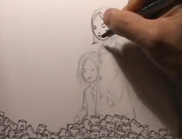 Vídeo acelerado mostra processo de criação de desenho (Foto: Reprodução)