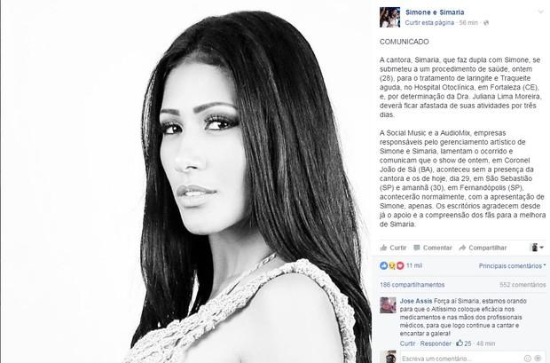 Comunicado de Simone e Simaria (Foto: Reprodução/Facebook)