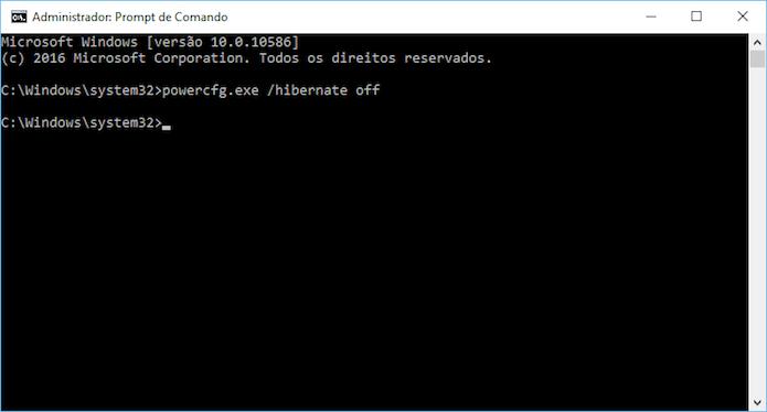 Desativando a hibernação no Windows 10 (Foto: Reprodução/Helito Bijora)