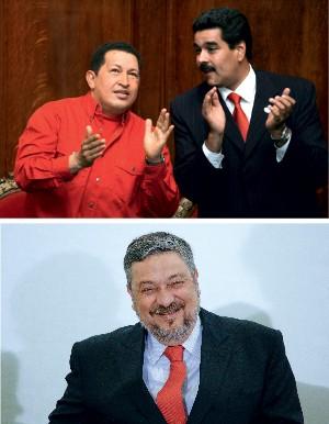 ESTILO Hugo Chávez e Nicolás Maduro (no alto) e Antonio Palocci (acima). Suas campanhas tiveram a assinatura de Santana (Foto: Miguel Rojo/AFP e Lula Marques/Folhapress)