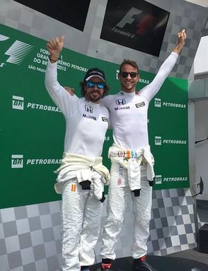 Jenson Button e Fernando Alonso no GP do Brasil (Foto: Reprodução/Instagram)