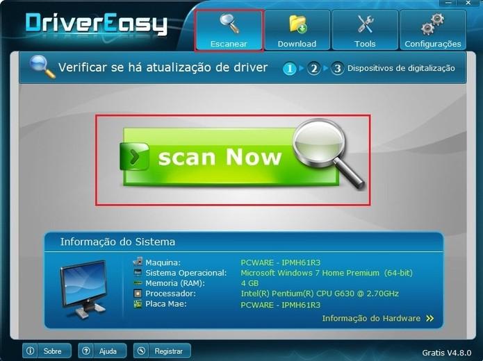 Para começar a escanear os drivers necessários, clique sobre o grande botão verde ou Escanear, em cima (Foto: Reprodução / Paulo Finotti)
