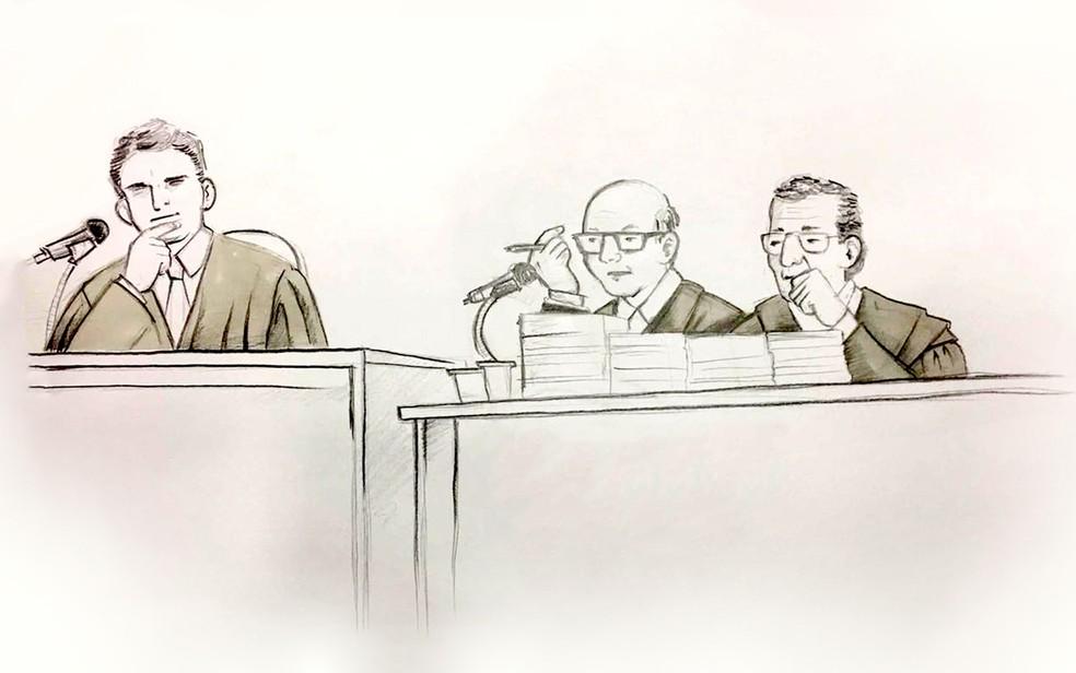 Ilustração mostra o juiz, promotor e assistente de acusação do caso Matsunaga (Foto: Roberta Jaworski/Editoria de Arte/G1)
