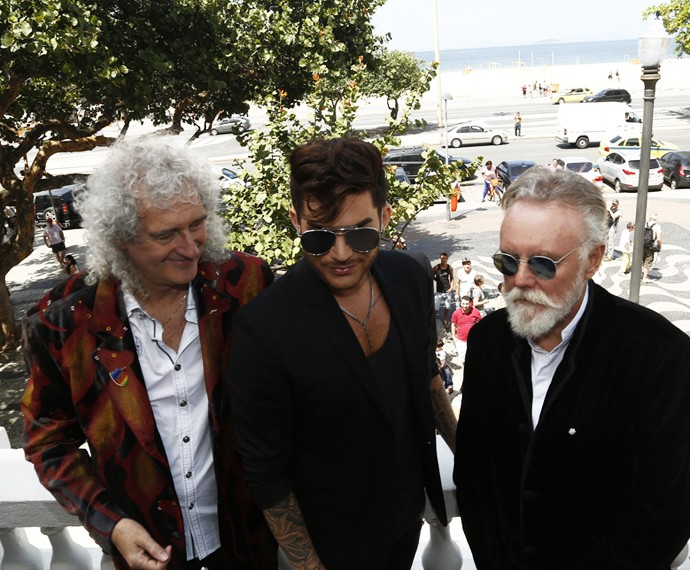 Queen e Adam Lambert deram entrevista no tradicional Copacabana Palace (Foto: Raphael Dias/Gshow)