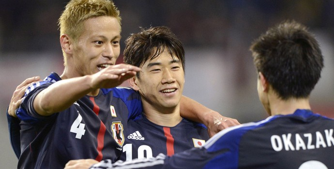 Kagawa honda japão gol letônia (Foto: Agência AP)
