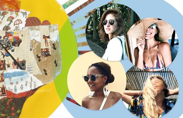 Nathália Medeiros, Luiza Brasil, Cecília Geyer e Mariana Goldfarb, com ilustração de Luiza de Andrade (Foto: Vogue Online)