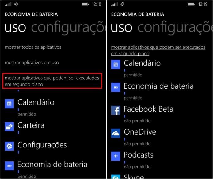 Filtrando aplicativos que executam tarefas em segundo plano (Foto: Reprodução/Helito Bijora)