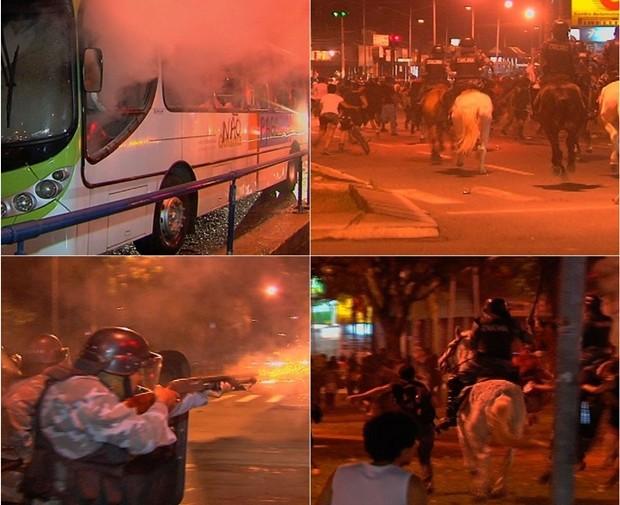 Violência marca protesto contra nova tarifa de ônibus em Goiânia (Foto: Reprodução/TV Anhanguera)