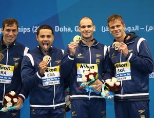 Brasil conquista o ouro no revezamento 4x50m medley no Mundial de Doha