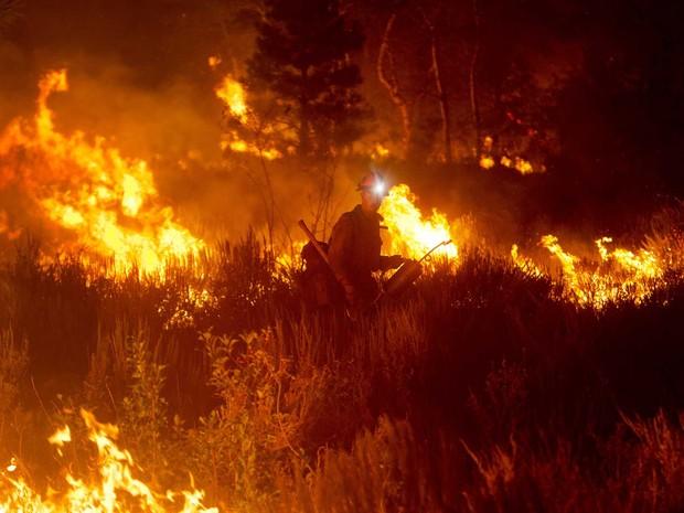Bombeiros ateiam fogo controlado em mata como estratégia para conter o avanço de um incêndio florestal perto de Pine, em Idaho, EUA. (Foto: Kyle Green/Idaho Statesman/AP)