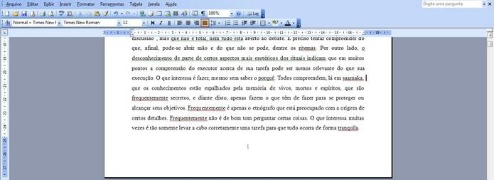 Rodapé de documento do Word exibindo numeração (Foto: Reprodução/ Raquel Freire)
