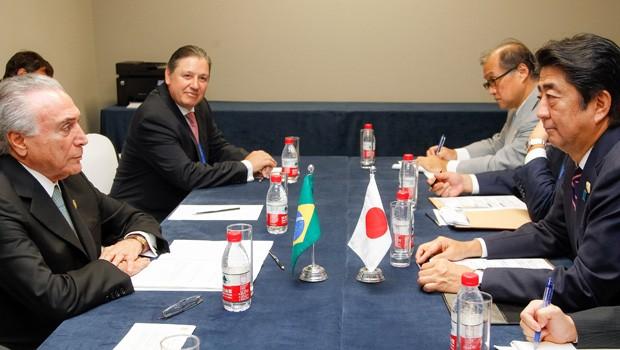 Michel Temer tem encontro bilateral com o primeiro-ministro do Japão, Shinzo Abe, no último dia de sua visita à China (Foto: Beto Barata/Presidência)