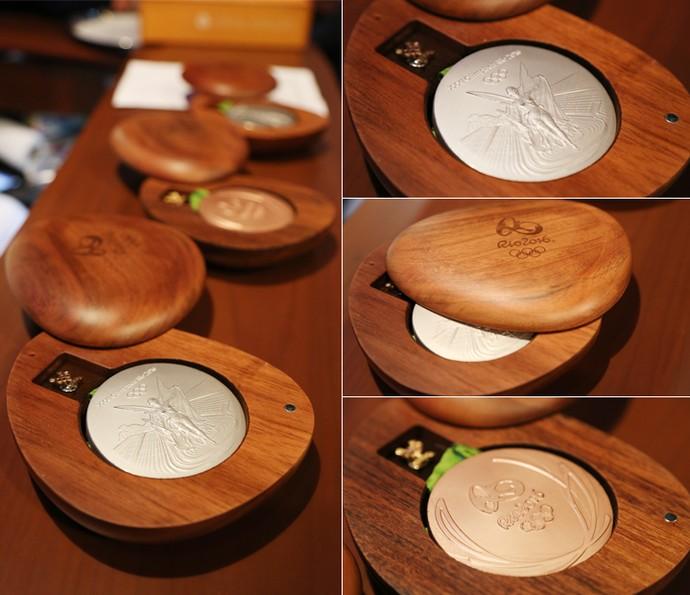 Isaquias Queiroz mostra as três medalhas olímpicas (Foto: Carol Caminha/Gshow)