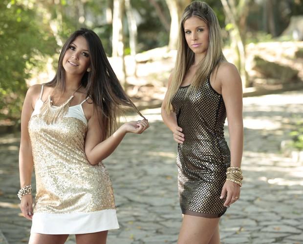 Raquel Guarini e Katia Volkland mostram a moda dos paetês e brilhos (Foto: Domingão do Faustão / TV Globo)