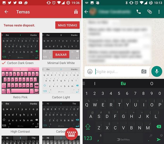 SwiftKey para Android aplicará último tema baixado automaticamente (Foto: Reprodução/Elson de Souza)