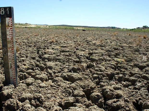 Em Currais Novos, fendas de até um metro de profundidade se abriram no solo rachado do açude Dourado (Foto: Anderson Barbosa/G1)