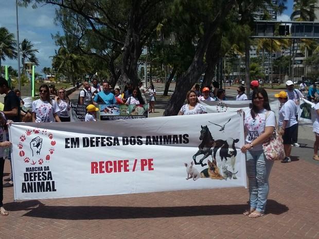 Marcha em defesa dos animais aconteceu em Boa Viagem (Foto: Pedro Lins/TV Globo)
