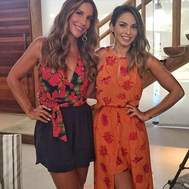 Ivete Sangalo e Alinne Rosa em bastidores de gravação em Salvador, na Bahia (Foto: Instagram/ Reprodução)