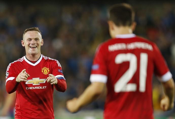 Rooney gol Brugge x Manchester United (Foto: Reuters)