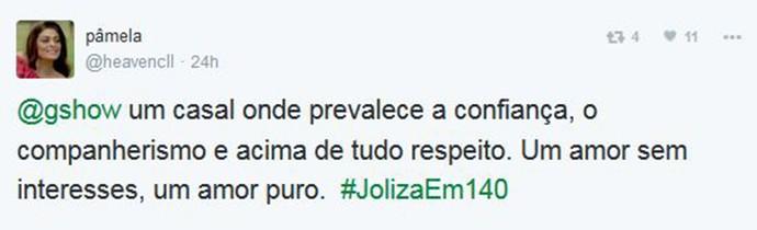 Pâmela aposta que respeito é melhor qualidade de Joliza (Foto: Reprodução)