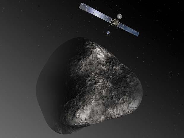 Concepção artística da Rosetta liberando sonda Philae ao cometa 67P/Churyumov–Gerasimenko (Foto: ESA–C. Carreau/ATG medialab)