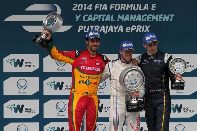 Pódio do e.Prix de Putrajaya de Fórmula E: Sam Bird, Lucas di Grassi e Sébastien Buemi (Foto: Divulgação)