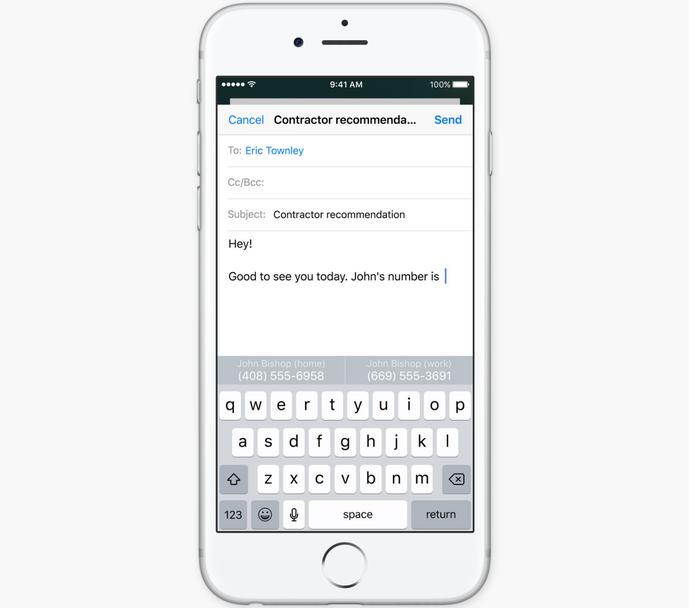 Teclado QuickType agora pode oferecer sugestões baseadas no contexto da conversa (Foto: Reprodução/Apple)
