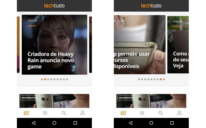 Galeria de notícias em destaque no topo do aplicativo do TechTudo (Foto: Reprodução/Raquel Freire)