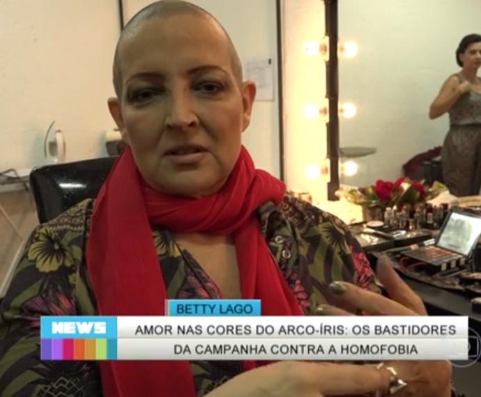 Betty Lago em campanha contra a homofobia (2015) (Foto: TV Globo)