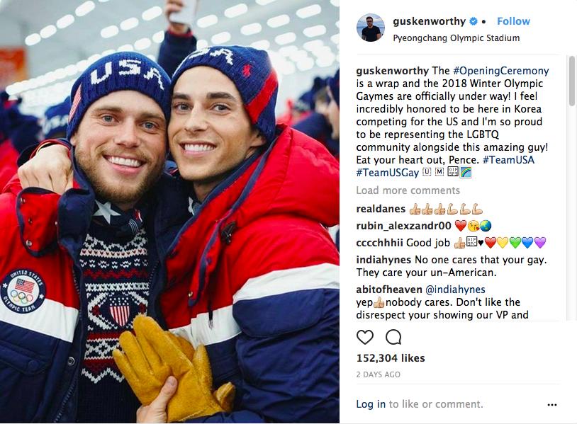 O post no qual o esquiador Gus Kenworthy fez uma crítica ao vice-presidente dos EUA, Mike Pence (Foto: Instagram)