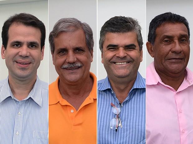 Candidatos à Prefeitura de Duque de Caxias (da esq. à dir.) Aureo (SD), Dica (PTN), Washington Reis (PMDB) e Zito (PP) (Foto: Alexandre Durão/G1)