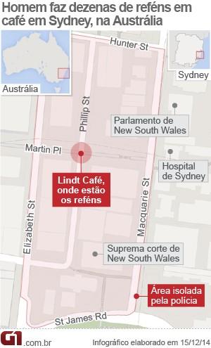 V2 mapa lindt café sydney (Foto: Arte/G1)