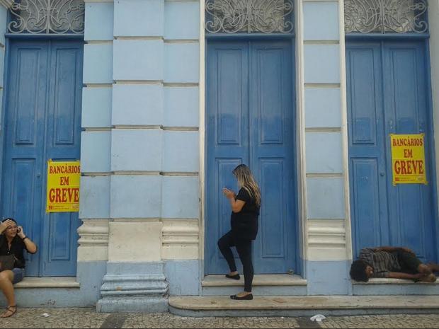 Greve dos banco no Ceará inicia nesta terça-feira (Foto: TV Verdes Mares/Reprodução) (Foto: Lena Sena/G1 Ceará)