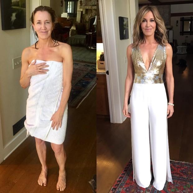 Antes e depois: Felicity Huffman capricha no visual para o Globo de Ouro (Foto: Reprodução do Instagram)