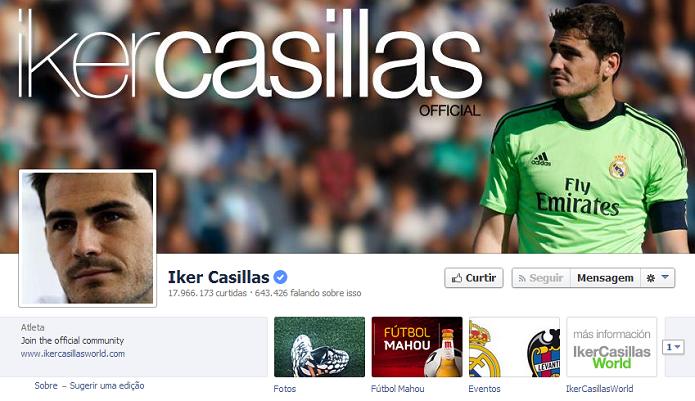 Iker Casillas do Real Madrid tem 17,729,896 de fãs no Facebook (Foto: Reprodução/Facebook)