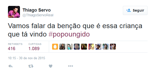 Thiago Servo insinua no Twitter gravidez de Ana Paula Minerato (Foto: Reprodução)