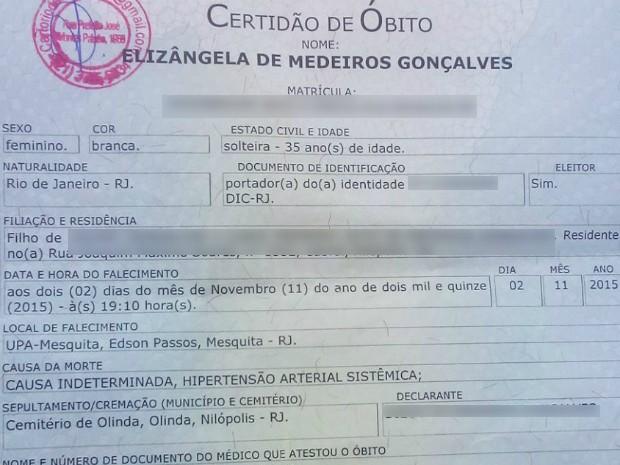 Certidão de óbito mostra causa da morte indeterminada (Foto: Diego Medeiros / Arquivo Pessoal)