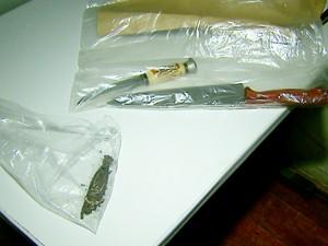 Facas usadas no crime e pulseira encontrada junto ao corpo foram apreendidas (Foto: Reprodução/EPTV)