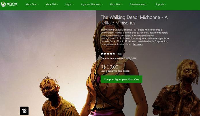 Página de TWD: Michonne na Xbox LIVE Marketplace (Foto: Reprodução/André Mello)