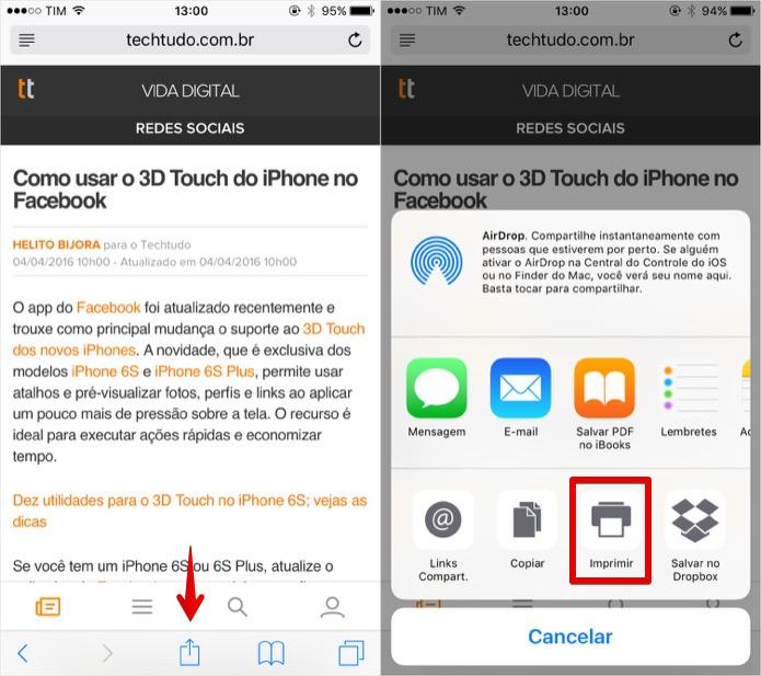 Acesse o menu de compartilhamento do iOS (Foto: Reprodução/Helito Bijora)