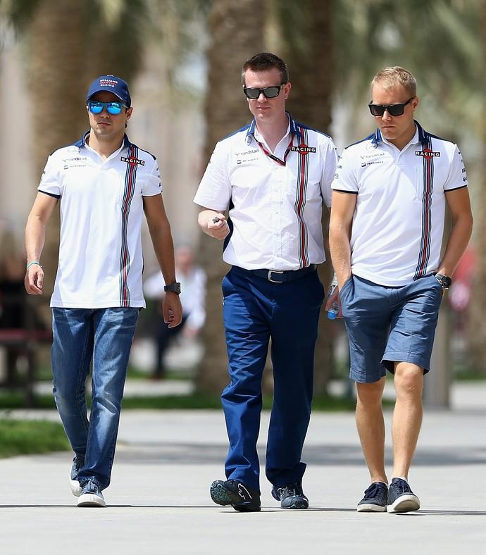Adrian Sutil, Felipe Massa e Valtteri Bottas no Bahrein (Foto: Getty Images)