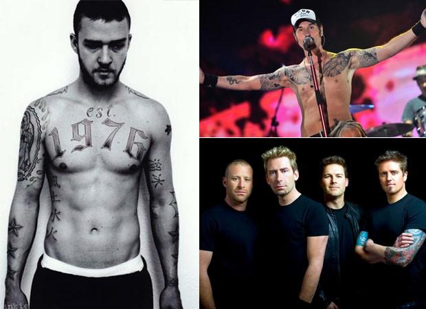 Em sentido horário: Justin Timberlake, Dinho Ouro Preto e o quarteto Nickelback (Foto: divulgação)